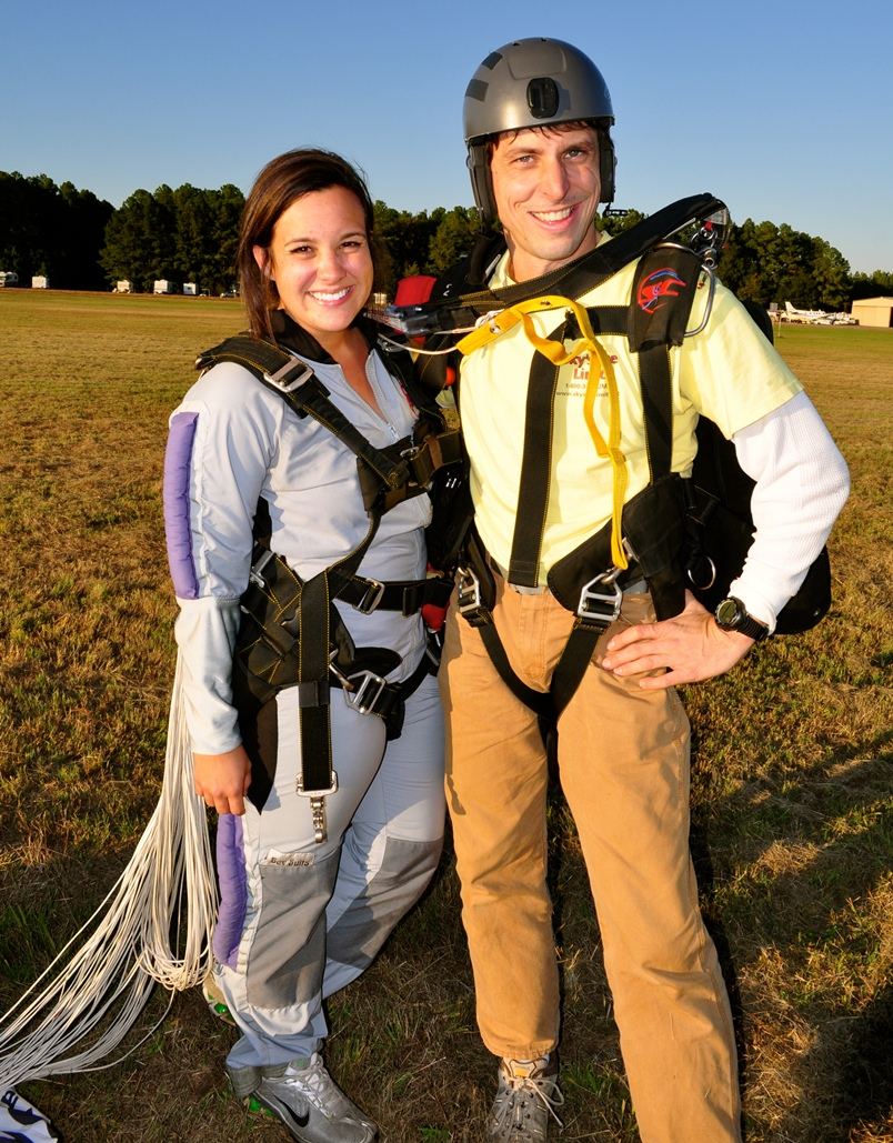 Click to view more photos - Senior IMC major Courney Amos landed safely on the ground after skydiving where she works, Skydive Carolina. Above: Amos enjoyed flying through the sky, hurtling towards during her skydiving experience. Amos said people of all ages enjoy the sport. Photos courtesy of Courtney Amos