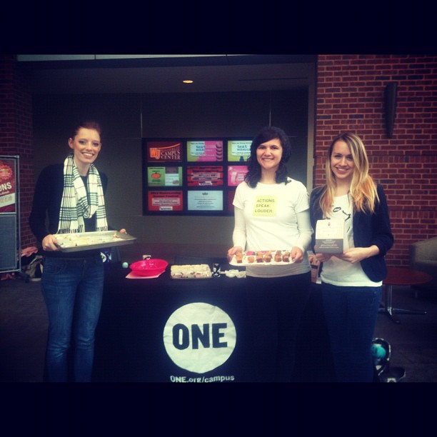 One at Winthrop had a table in DIGS and gave out free sweet potato treats to raise awareness about hunger in Africa.  Photo courtesy of Sarah Cohen