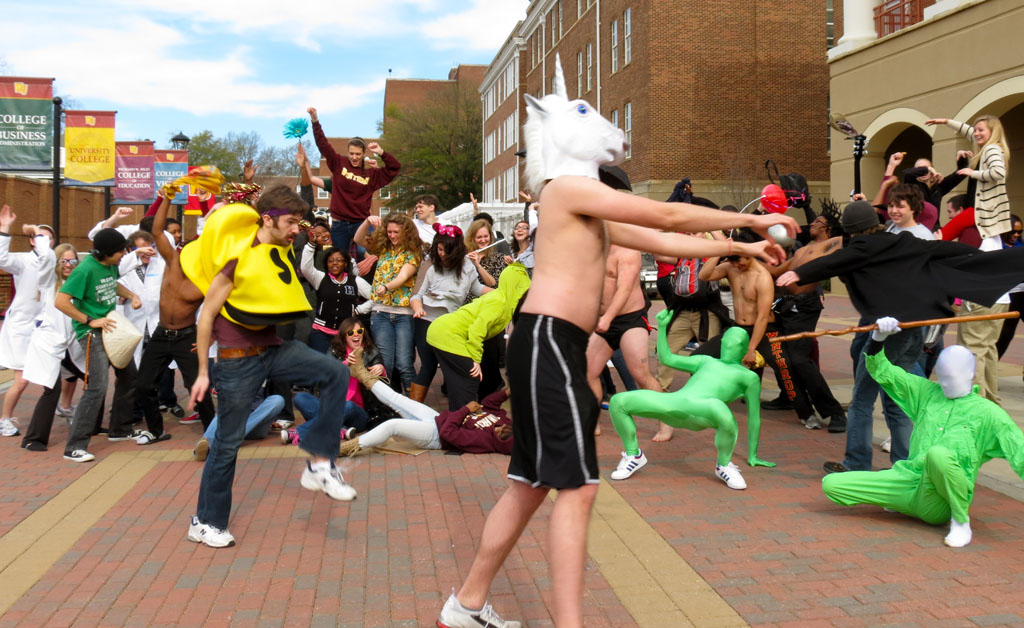 Students doing the Harlem Shake on Scholars Walk Photo by Claire VonOstenbridge • VonOstenbridge@mytjnow.com