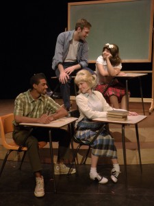 Tracy, Link, Penny and Seaweed hang out at school. Photo courtesy of Winthrop Theatre Department