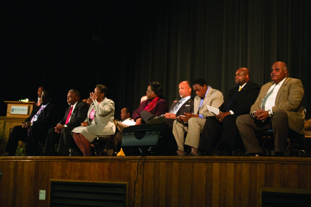 Members of the South Carolina Legislative Black Caucus answer questions from constituents in town hall meeting.  Photo by Shamira McCray• mccrays@mytjnow.com