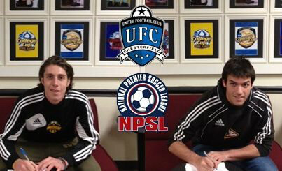 Pictured are Adam Brundl and Jordi Lluch signing their contracts. Photo courtesty of Coach Rich Poisanko.
