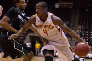 Joab Jerome driving to the hoop during the first half of Winthrop's 82-74 win over USC Upstate.