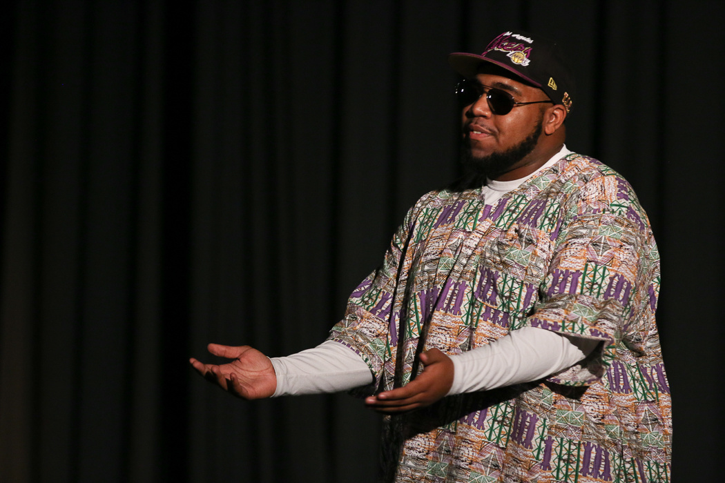 Spoken word artist Timon Ruth performs. Photo by Jacob Hallex.