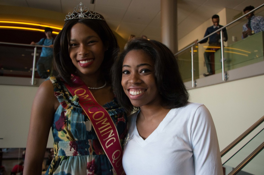 Jazmine Linnette poses with last years Homecoming Queen Daisy Burroughs. Photo by Jacob Hallex