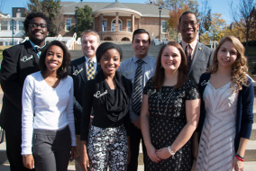 Members of the 2014 Homecoming Court. Bottom Row (from left to right): Jazmine Linnette, Shartaysia Rodgers, Ali Jensen, Samantha Nance Top row (from left to right): Cameron Benton, Taylor Jernigan, Roberto Avalos, Jamal Tate.