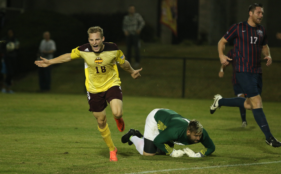 Max Hasenstab celebrates after scoring his first of three goals against Liberty. The Winthrop win secures a trip to Greensboro and a place in the Big South Semi-finals. Photo by Jacob Hallex