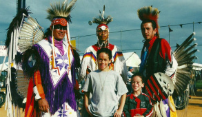 Dylan Hunt (center young boy) with his younger brother at a Seminole pow wow in Florida.