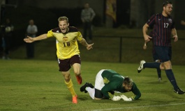 Hasenstab hat trick lifts men's soccer to Big South Semifinals